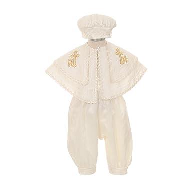 de0cd91aa Rain Kids Baby Boys Ivory Silk Cross Cape Hat Baptism Romper ...