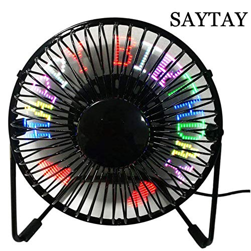 USB Programmable LED Desk Fan, SAYTAY 360°Rotation RGB Programmable Fan Personal Table Cooling Fan RGB LED Display Memory Function Durable Metal Phrame 5' for Home & Office (Programmable)