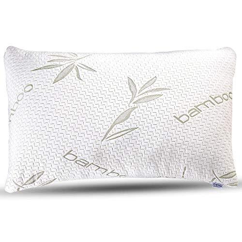 Sleepsia Bamboo Pillow - Premium Pillows for Sleeping - Memory Foam Pillow with Washable Pillow Case - Standard Size Pillows