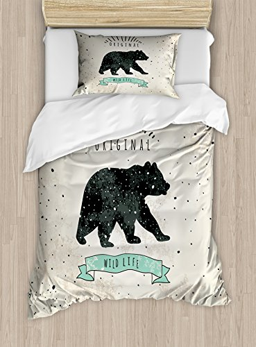 (Ambesonne Bear Duvet Cover Set Twin Size, Vintage Wildlife Theme with Random Dots Predator Paws Animal Themed Design, Decorative 2 Piece Bedding Set with 1 Pillow Sham, Tan Black)