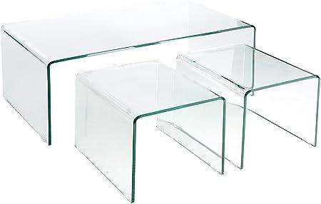 Invicta Interior Moderno Juego de 3 mesas de café (Cristal Ghost Mesas Auxiliares Transparente Mesa de Cristal: Amazon.es: Hogar
