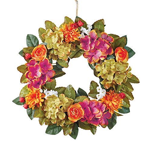 (Collections Etc Hydranga Fall Wreath with Mums and Roses Floral Accents for Front Door or Indoor, Artifical Floral, Green, Purple, Orange, Yellow)