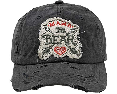 (BH-203-MB-HEART06 Distressed Patch Baseball Cap - Mama Bear w/ Heart -)
