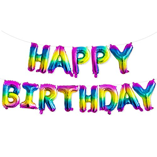 (Unicorn Rainbow Happy Birthday Banner, Colorful Letter Balloons Foil Mylar Balloons for Unicorn Birthday Party Decorations Backdrop Supplies)