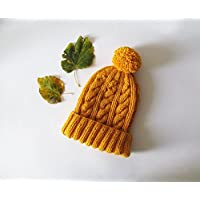 Cable Knit Hat in Yellow, Hand Knit Beanie with Folded Brim, Womens Pom Pom hat, Winter Accessories, Wool Blend, Gift For Her