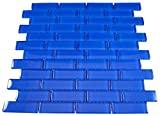 1x3 Glossy Electric Blue Subway Glass Mosaic Tiles for Bathroom and Kitchen Walls Kitchen Backsplashes By Vogue Tile