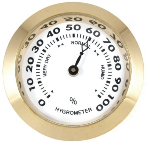 Analog Cigar Hygrometer (Brass Analog Hygrometer Cigar Humidity Gauge with Glass Lens for Humidors)