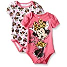 Disney Baby Minnie Mouse Adorable Soft 2 Pack Bodysuits, White, 0-3 Months