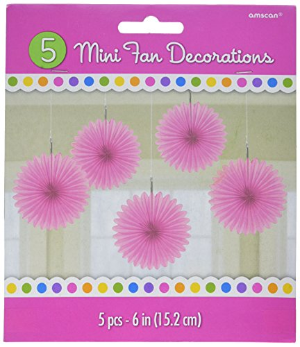 Party Perfect Mini Hanging Fan Decorations, Bright Pink, Paper, 6