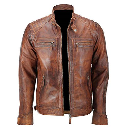 - Mens Distressed Brown Classic Diamond Leather Jacket (M- fit for 41-42 inches Actual Chest)