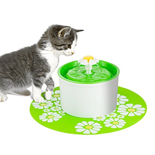 Happypapa Cat Fountain Flower Fountain Ultra Quiet Drinking Pet Fountain Encourages Cats and Dogs to Drink More to Stay Healthy and Hygienic (Eco Iodine)