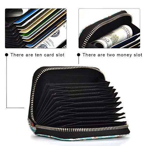 RFID Blocking 10 Slots Card Holder Canvas Accordion Compact Wallet Credit Card Holder