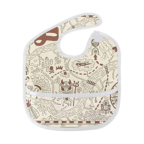 AISSO Old Pirate Map with Wind Rose Starter Bib Baby Infant Boys Girls,Waterproof Stain Resistant Lightweight Bibs for 3-9 Months ()