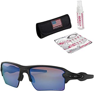 product image for Oakley Flak 2.0 XL Sunglasses (Matte Black Frame/Prizm Deep H2 O Polarized Lens) with USA Flag Lens Cleaning Kit