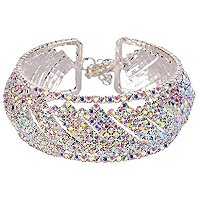EleQueen Women's Silver-tone Full Austian Crystal Open End Wide Party Cuff Bangle Bracelet Iridescent Clear AB
