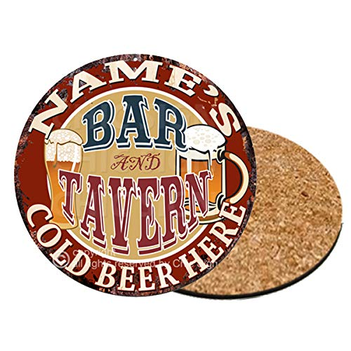 Any Name's BAR and Tavern Custom Personalized Coasters 0134 Rustic Shabby Vintage Style Retro Kitchen Bar Pub Coffee Shop Housewarming Gift Wedding Gift Ideas (6) ()