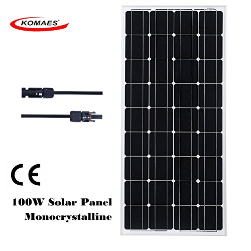 KOMAES SOLAR 100W Monocrystalline Solar Panel 12V Charger With MC4 Connector for deep cycle battery, Perfect for Residential, Industrial, RV, Boat, Camping, Off Grid Installation by KOMAES