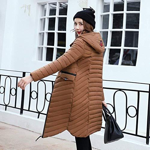 Solidi Lunga Invernali Classiche Colori Giacca Kaffee Cappuccio Donna Donne Tasche Di Piumini Con Coat Cappotti Anteriori Moda Manica Cerniera vgO5wE