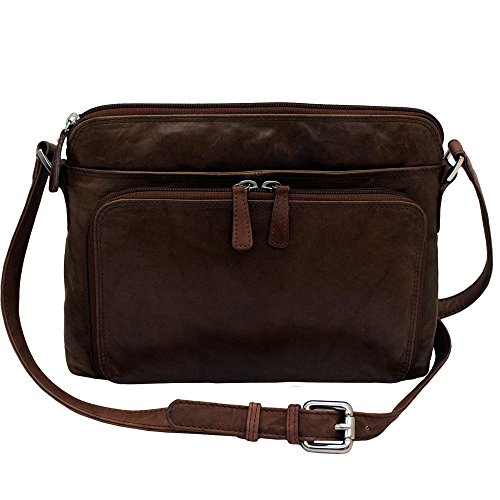 CTM Women's Leather Shoulder Bag Purse with Side Organizer, Brown