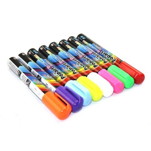 Tzou Wet Liquid Chalk Neon Marker Pen 8 Color Pack Dry Erase (8 Color Assorted)