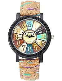 Women Vintage Retro Compass Camouflage Wooden Like Leather Strap Analog Quartz Wrist Watch