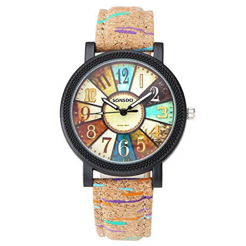 Top Plaza Women Vintage Retro Compass Camouflage Wooden Like Leather Strap Analog Quartz Wrist Watch