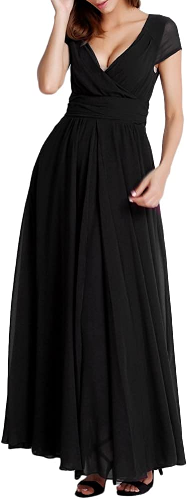 OBEEII Abito Donna Lungo Scollo V Manica Corta Elegante Vestito da Cerimonia Matrimonio Sposa Damigella dOnore Sera Cocktail Gala Prom EU 40-50