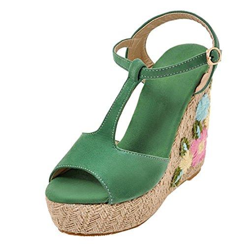 AIYOUMEI Damen T-spangen Peep Toe Keilabsatz Sandalen mit Blumen und Plateau Sommer Schuhe Grün
