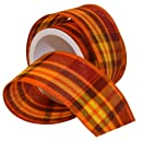 Morex Ribbon Abundance Wired Plaid Fabric Ribbon, 2-1/2-Inch by 3-Yard Spool, Pumpkin