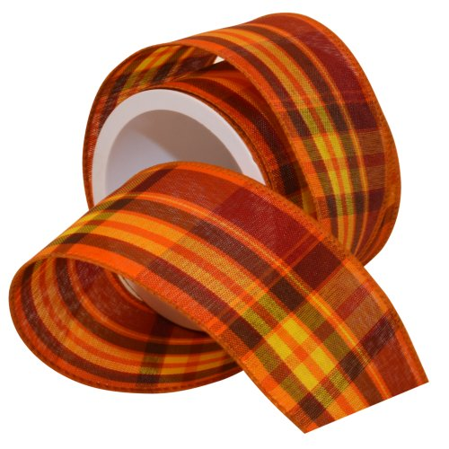 Morex Ribbon Autumn Hayride Plaid Wired Fabric Ribbon, Pumpkin, 2-1/2 in x 3-Yd (Making Bow For Wreath With Wired Ribbon)