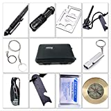 Survival Kit 11 Tools Professional Emergency Survival Gear Kits with Compass Fire Starter Whistle Survival Knife LED Flashlight Tactical Defense Pen Foil Blanket For EDC Hiking Hunting Bug Out Bag