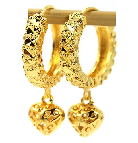 22k Gold Hoop Earrings (Gorgeous 18k Gold-plated Thai Style Leverback Hoop Drop Heart Earrings)