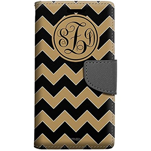 Monogram Samsung Galaxy S7 Edge Wallet Case - Chevrons Gold on Black Sales