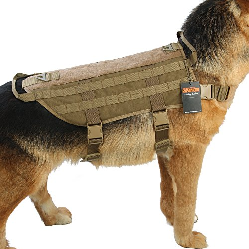 EXCELLENT ELITE SPANKER Tactical Dog Harness Nylon Molle Patrol Military Training Dog Vest Harness Small Medium and Large Dogs(Coyote Brown)