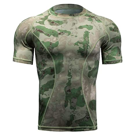 4e4f58621 QIAOMENG Camouflage Tactical T-Shirts Short Sleeve for Men Quick Dry Fit  Army T-