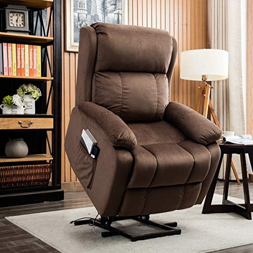 CANMOV Power Lift Recliner Chair with Remote Control, Heavy Duty Reclining Sofa Soft Fabric Living Room Chair for Elderly with Plush Padding Seat (Brown)