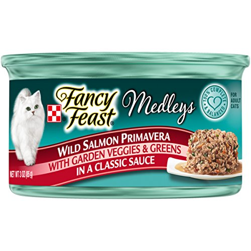 Purina Fancy Feast Wet Cat Food; Medleys Wild Salmon Primavera With Garden Veggies & Greens in Sauce - 3 oz. Can (Pack of 24)