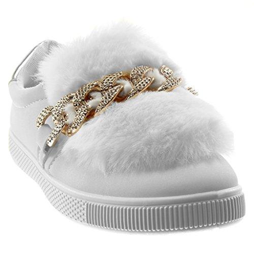 Angkorly Damen Schuhe Sneaker - Sporty Chic - Tennis - Slip-On - Pelz - Kette - Glänzende Flache Ferse 2.5 cm Weiß