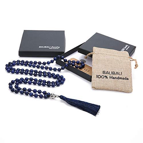 BALIBALI 108 Mala Beads Necklace Semi-Precious Gem Stones Meditation Necklace 108 Hand Knotted Japa Mala Beaded Tassel Necklace with Tree of Life Pendant (Lapis Lazuli)