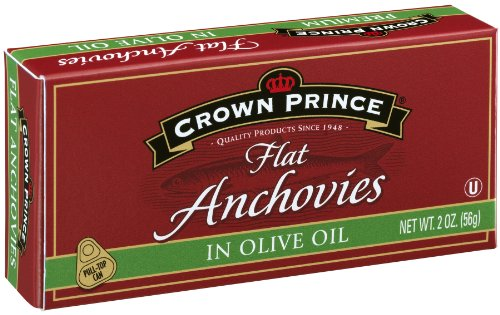 Price comparison product image Crown Prince Flat Anchovies in Olive Oil,  2-Ounce Can
