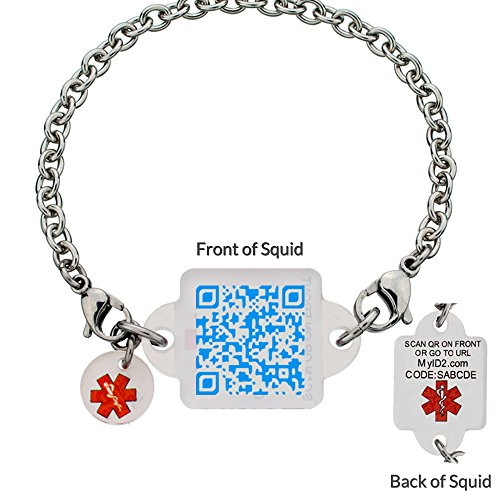 Medical Alert Bracelet - Baby Blues Squid Square - XXX Large (XXXL - - Square Id My