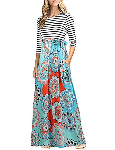 HNNATTA Women 3/4 Sleeve Striped Floral Print Tie Waist Party Maxi Dress with Pockets Blue Pink XXL