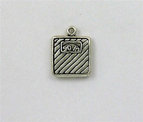 Sterling Silver 3D Bathroom Scale Charm Jewelry Making Supply, Pendant, Charms, Bracelet, DIY Crafting by Wholesale Charms ()