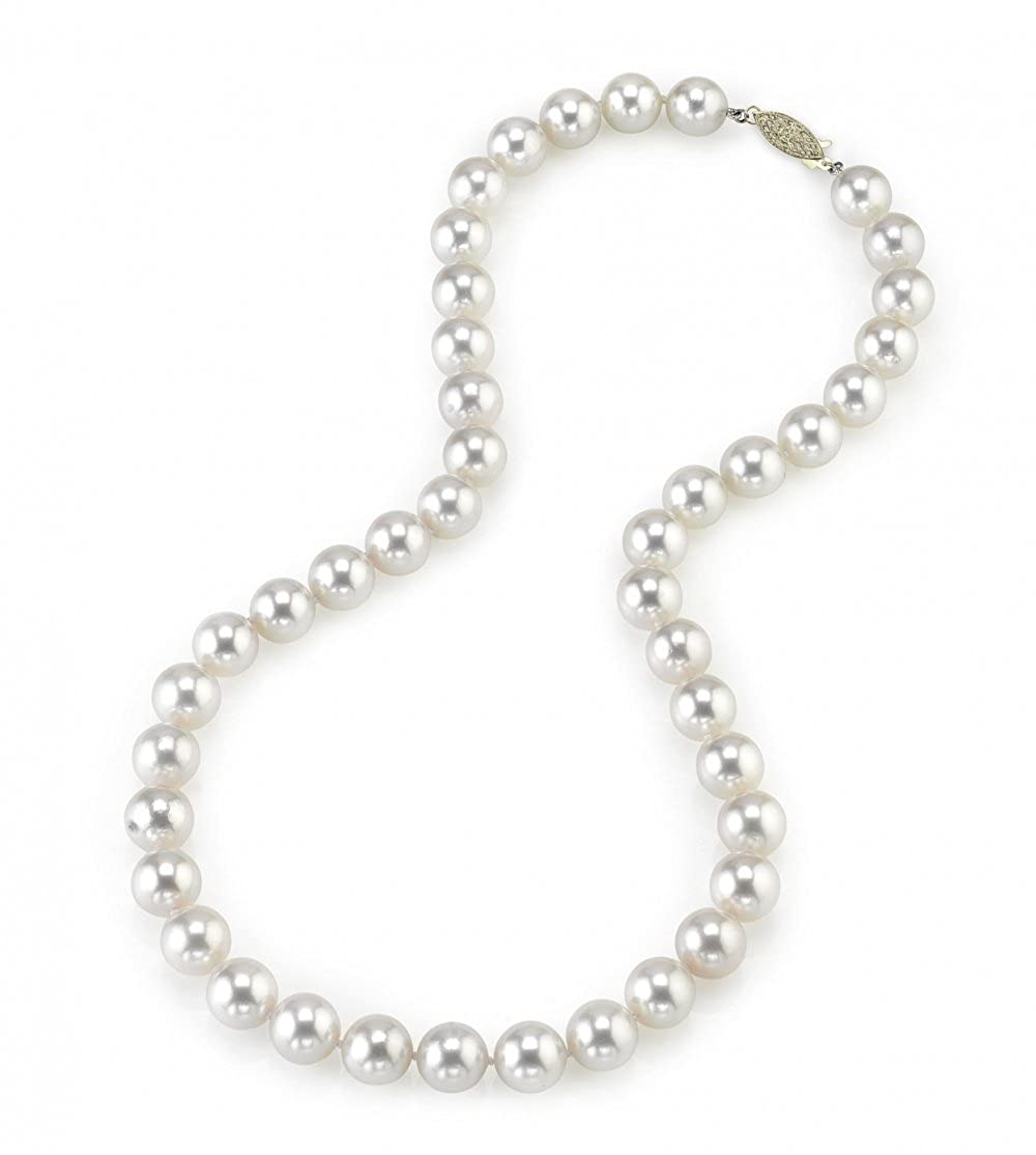 THE PEARL SOURCE 14K Gold 9.0-9.5mm Hanadama Quality Round Genuine White Japanese Akoya Saltwater Cultured Pearl Necklace in 17 Princess Length for Women