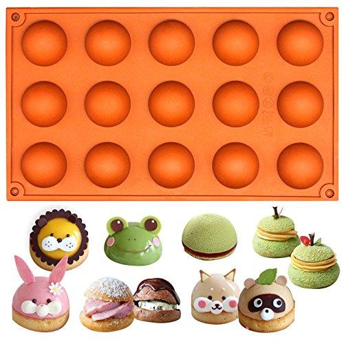 - Funshowcase 15 Cavity Semi Sphere Half Round Dome Silicone Mold Chocolate Teacake Baking Tray