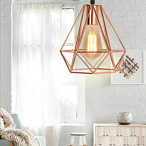 NANGE Modern Chandelier,Personality Plating Rose Gold Pendant Lights,Kitchen Island Table Dining Room Bedroom Entryway Hanging Lamp,E27(Without Light Source) (Color : AC 110V, Size : Gold) by NANGE (Image #7)
