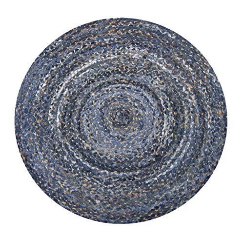 Chardin home Denim and Natural Hemp Braid Rug, 3' Round