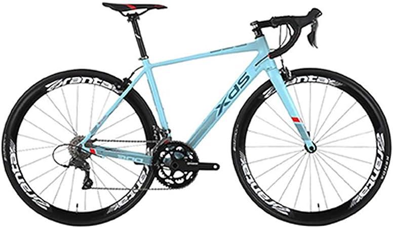 NENGGE Bicicleta de Carretera, Adulto 16 Velocidades Bicicleta de Carreras, 480MM Ultraligeros Aluminio Marco Bicicleta Urbana, Freno Double V,Azul: Amazon.es: Hogar