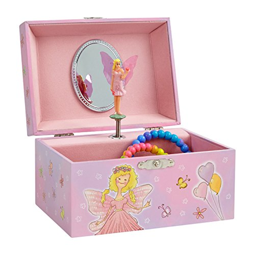 JewelKeeper Girl's Musical Jewelry Storage Box with Pink Fairy and Hearts Design, Dance of the Sugar Plum Fairy Tune