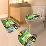 Printsonne Bathroom Non-Slip Floor Mat Indian Religion Collage with Zen Features Meditation Calm Spiritual Mind Life Decor Green Machine-Washable